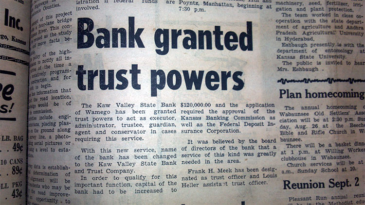 Kaw Valley State Bank granted trust powers
