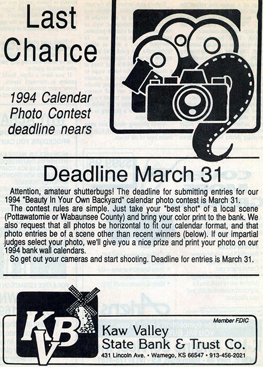 Calendar Photography Submissions : History kaw valley state bank